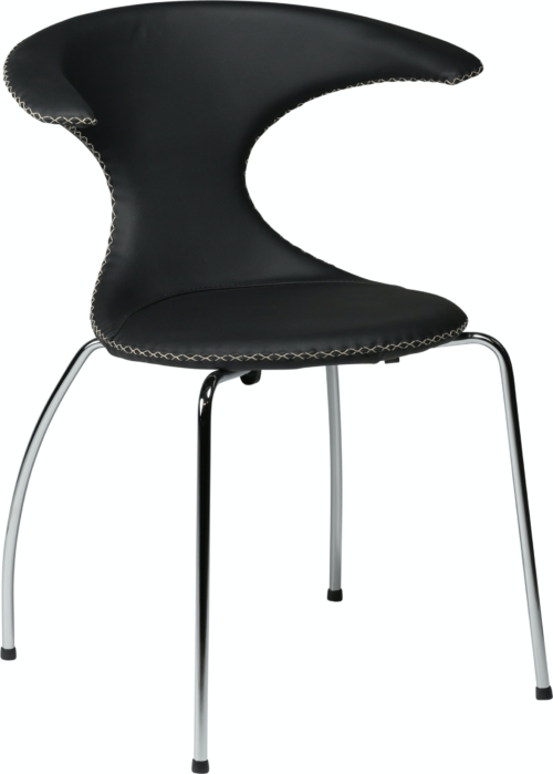 På billedet ser du variationen Flair, Spisebordsstol, Stålben, Læder fra brandet DAN-FORM Denmark i en størrelse H: 81 cm. B: 64 cm. i farven Sort/Sølv