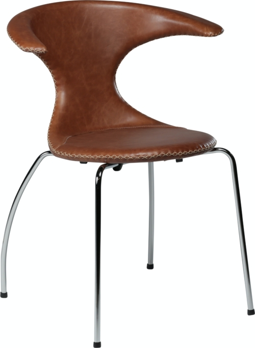 På billedet ser du variationen Flair, Spisebordsstol, Stålben, Læder fra brandet DAN-FORM Denmark i en størrelse H: 81 cm. B: 64 cm. i farven Brun/Sølv