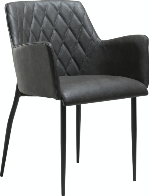 På billedet ser du variationen Rombo, Spisebordsstol, Kunstlæder fra brandet DAN-FORM Denmark i en størrelse H: 80 cm. B: 56 cm. i farven Grå/Sort