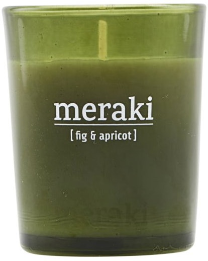 På billedet ser du variationen Duftlys, Fig & apricot fra brandet Meraki i en størrelse D: 5,5 cm. H: 6,7 cm. i farven Grøn