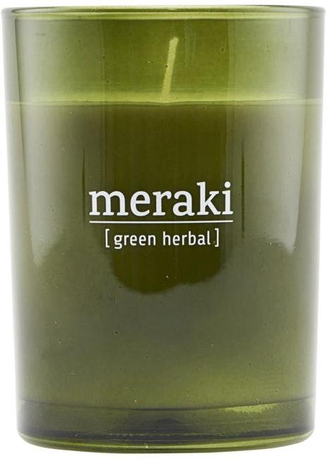På billedet ser du variationen Duftlys, Green herbal fra brandet Meraki i en størrelse D: 8 cm. H: 10,5 cm. i farven Grøn