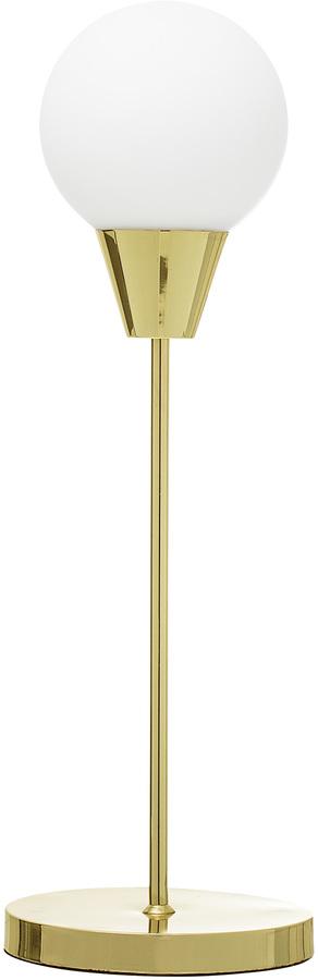 På billedet ser du variationen Cozy, Bordlampe, Guldfarvet fod fra brandet Bloomingville i en størrelse D: 19 cm. H: 55 cm. i farven Guld