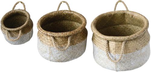 På billedet ser du variationen Boho Livin, Kurv, Søgræs (sæt med 3 stk.) fra brandet Creative Collection i en størrelse Sæt á 3 stk. i farven Hvid