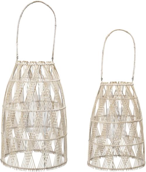 På billedet ser du variationen Cozy, Lanterne m. Glas, Bambus (sæt af 2 stk.) fra brandet Creative Collection i en størrelse Sæt á 2 stk. i farven Natur