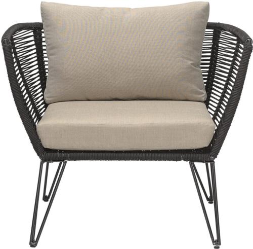 På billedet ser du variationen Mundo, Loungestol til udendørsbrug, Frostsikker fra brandet Bloomingville i en størrelse H: 72 cm. B: 74 cm. L: 87 cm. i farven Sort