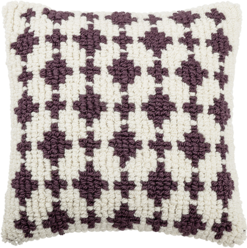 På billedet ser du variationen Cozy, Pude med sort/hvid mønster, Uld fra brandet Bloomingville i en størrelse B: 55 cm. L: 55 cm. i farven Lilla