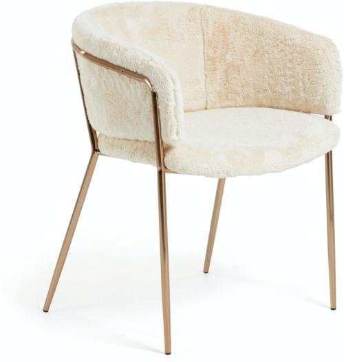 På billedet ser du variationen Runnie, Spisebordsstol m. armlæn, Pels fra brandet LaForma i en størrelse H: 73 cm. B: 58 cm. L: 58 cm. i farven Hvid/Kobber