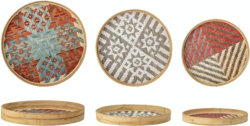 På billedet ser du variationen Asiel, Deko Bakke, Bambus (Sæt á 3 stk.) fra brandet Creative Collection i en størrelse D: 45 cm. H: 6 cm. i farven Multi