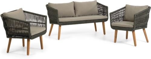 På billedet ser du variationen Inti, Udendørs sofasæt fra brandet LaForma i en størrelse H: 75 cm. B: 130 cm. L: 67 cm. i farven Grøn